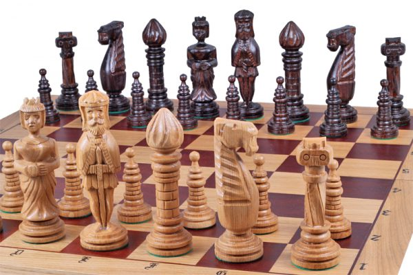 handmade medieval chess set