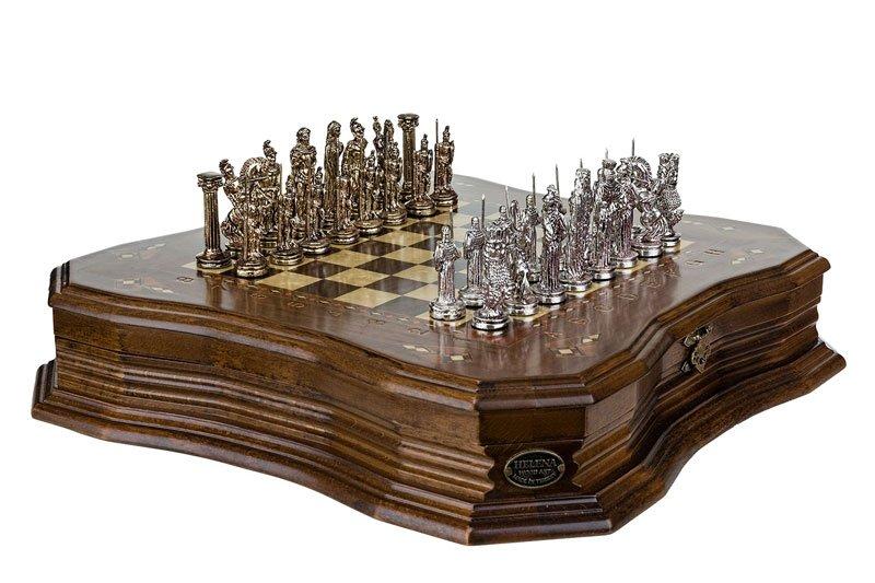 Schachspiel Antike Walnuss 39 cm