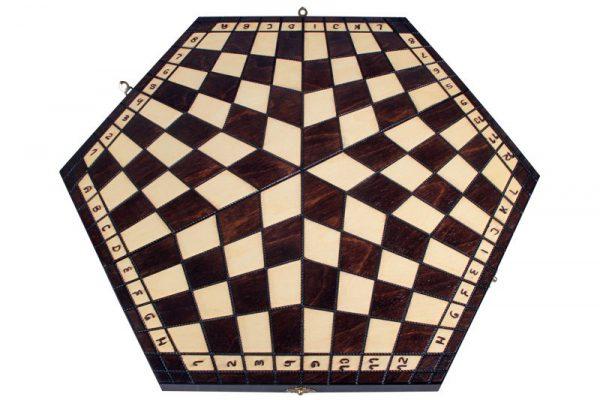 handmade three player chess set