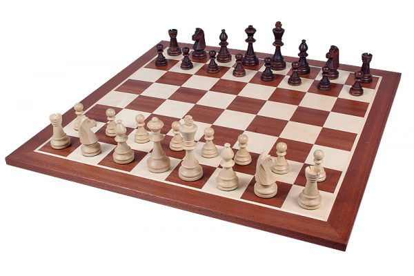 chessmen staunton on chessboard