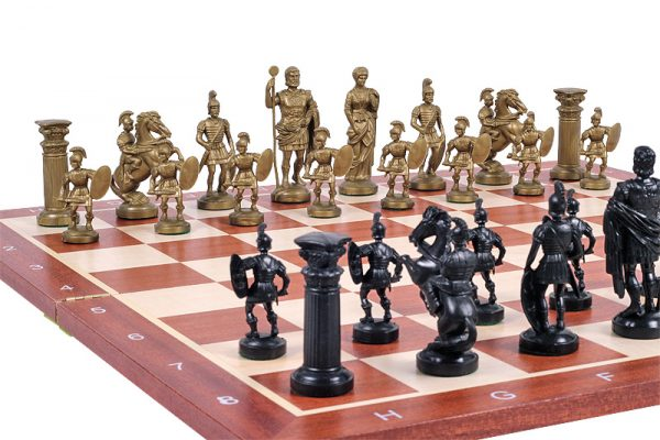 gold roman chess pieces