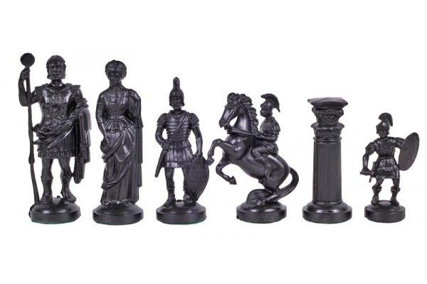 roman chess pieces gold