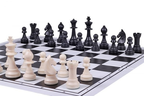 plastic black chess board