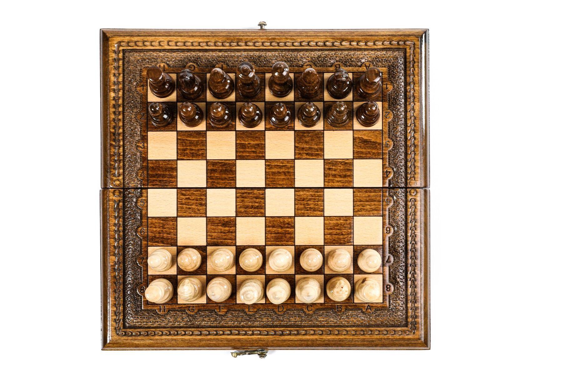 Klassisches Schachspiel Buchenholz Bronze 30 cm
