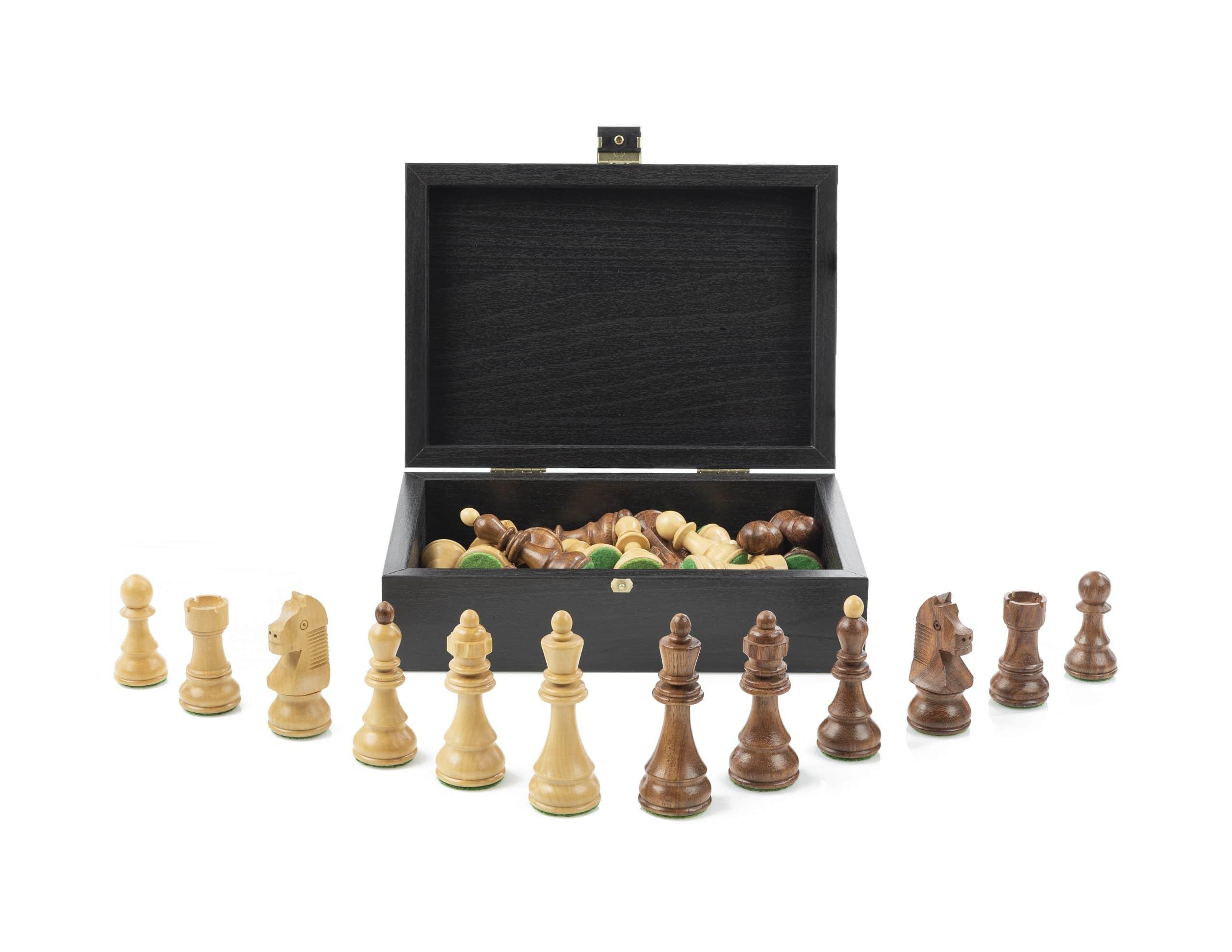 Schwarzer Kasten Schachfiguren